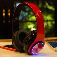 B39 블루투스 헤드폰 휴대용 접는 헤드셋 mp3 플레이어와 마이크 LED 다채로운 조명 무선 헤드폰