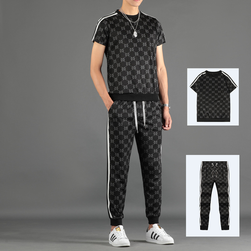 Summer Mens Short Sleeve T Shirt Sportswear Set Male Casual Print Tracksuit Men 2 Piece Sweatshirt + Long Pants Brand Track Suit