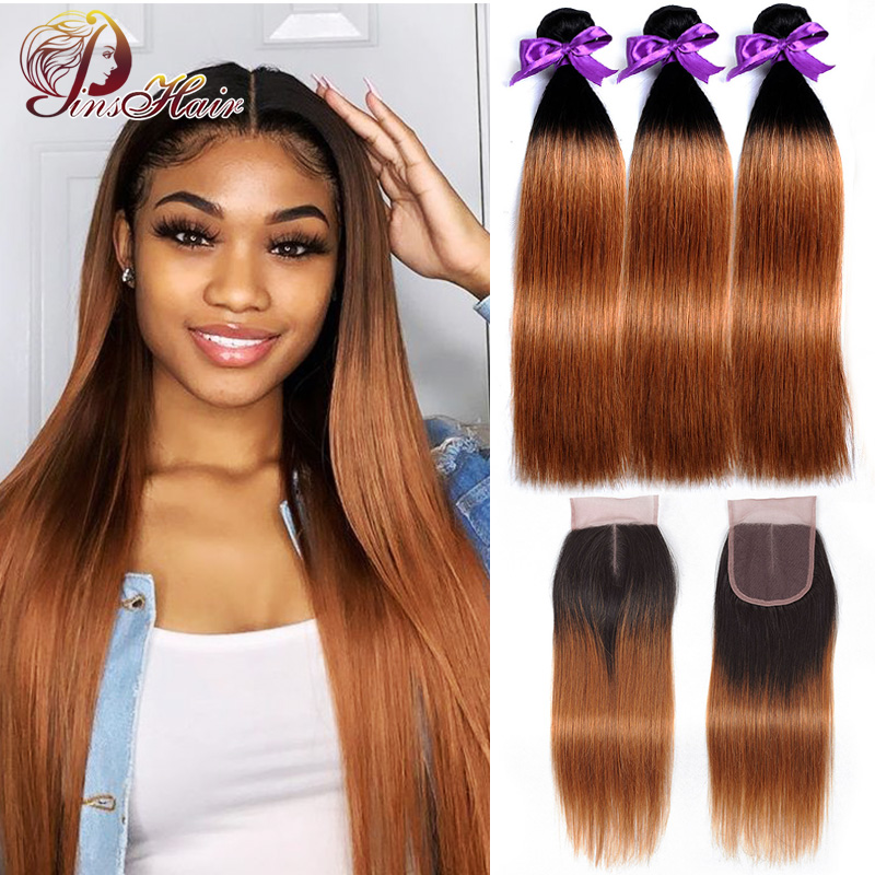 Pinshair Ombre Blonde Peruvian Straight Hair Bundles With Closure 1B 30 Human Hair Weave Bundles With Closure 10-26inch Non-remy