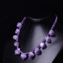 купить Natural amethyst rough stone necklace Amethyst new necklace female онлайн