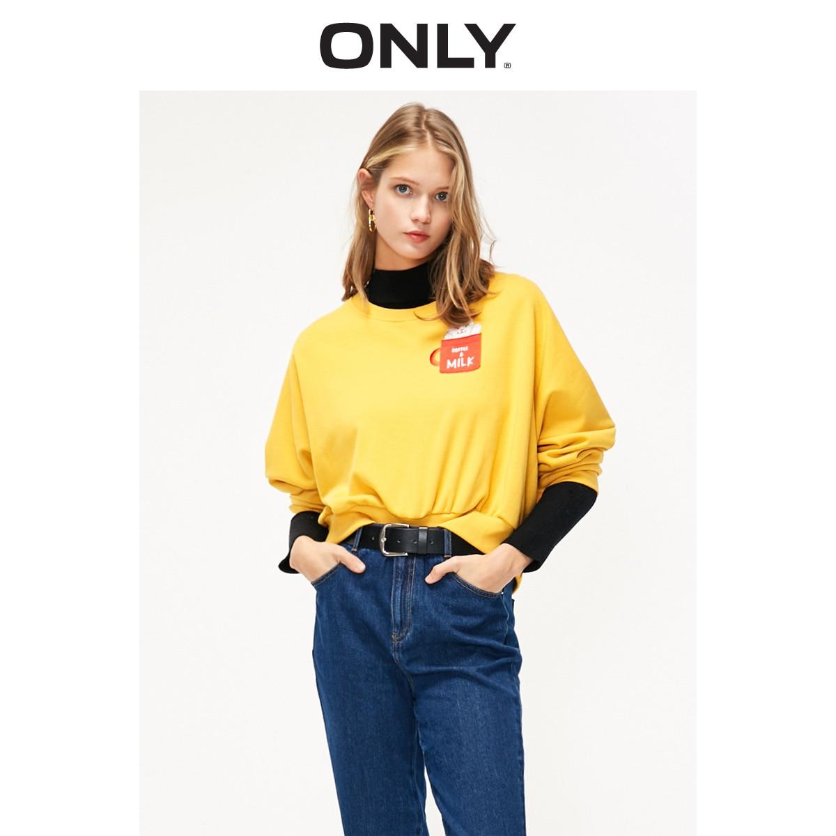 ONLY Women's Loose Fit Cartoon Pattern Batwing Sleeves Round Neckline Pullover Sweatshirt | 11919S511
