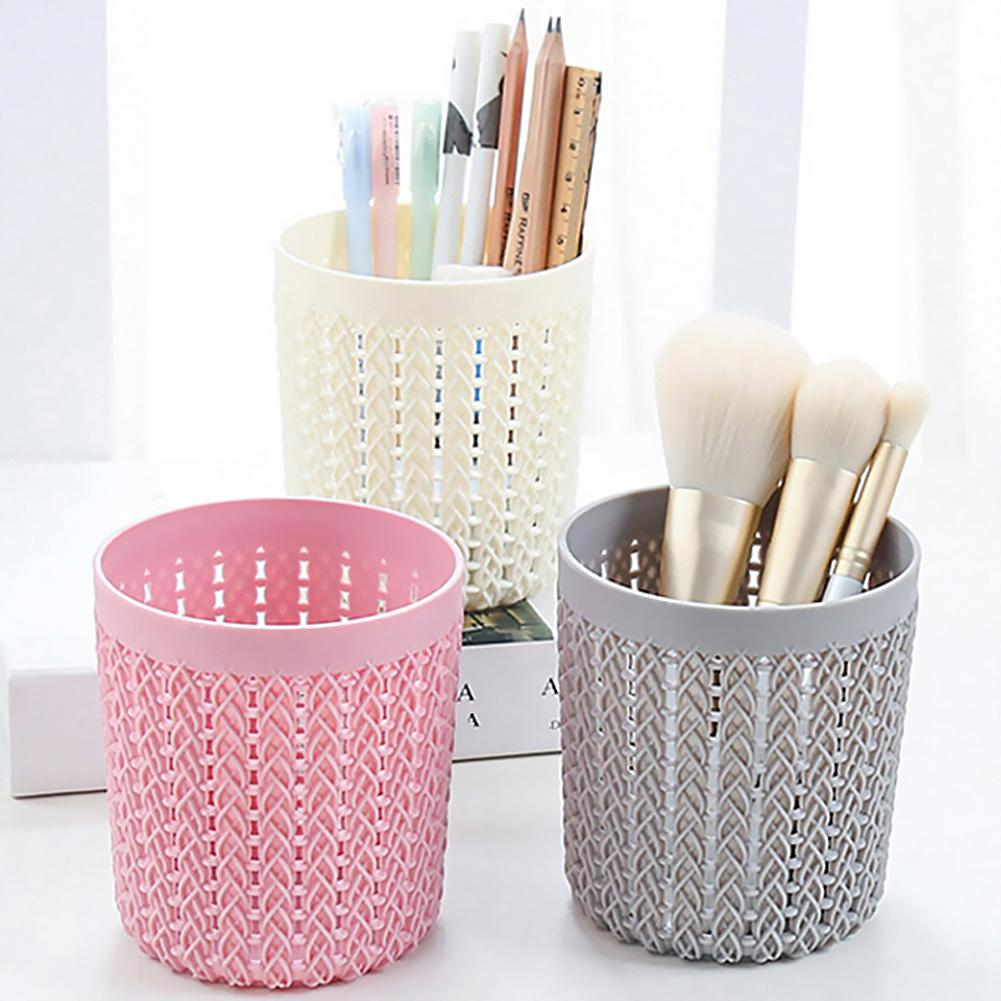 Creative Rattan Cylinder Hollow Pen Pencil Cosmetic Brush Holder Storage Box Empty Organizer Desktop Office Stationery Bucket