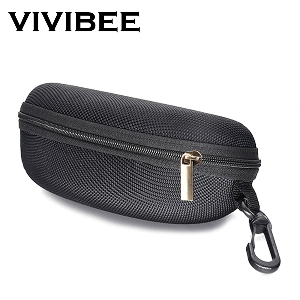 VIVIBEE Men Black Sports EVA Farbic Sunglasses Case Zipper Waterproof Sun Glasses Eyewear Storage Men Eyeglasses Spectacle Box