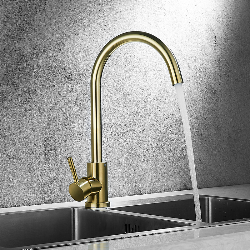 Modern Gold Kitchen Faucet Brass For Cold And Hot Mixer Tap Sink Faucet Vegetable Washing Basin Brushed Kitchen Accessories