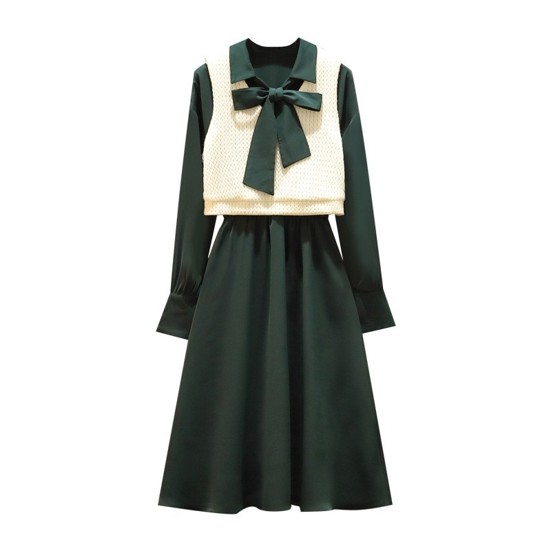 Spring New Women Knitted Vest Green Dress Two Piece Set Bow Slim Fit Ladies Casual Outfits Suit Plus Size Dress Matching Sets