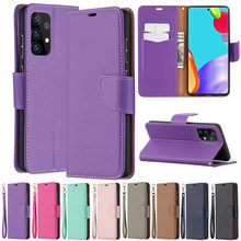 Leather Wallet Litchi Pattern Case For Samsung Galaxy A01 A02 A02S A10 A12 A21S A31 A32 A41 A42 A50 A51 A52 A70 A71 A72 A7 2018