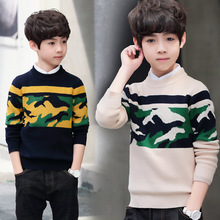 Camouflage Boys Sweater Christmas Kids Winter Warm Cotton Knitted Pullover Children Casual Boy Clothing