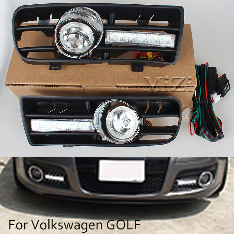 2pcs <font><b>Led</b></font> DRL Daytime Running <font><b>Lights</b></font> Fog <font><b>Lights</b></font> Lamps Grille <font><b>led</b></font> Grill For <font><b>VW</b></font> <font><b>Golf</b></font> GTi 1997-2006 for TDI MK4 W/ Controller H3 55W image