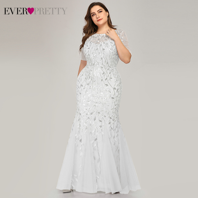 Plus Size White Wedding Dresses Ever Pretty EZ07707WH Sequined O-Neck Short Sleeve Mermaid Wedding Gowns For Bride Suknia Slubna