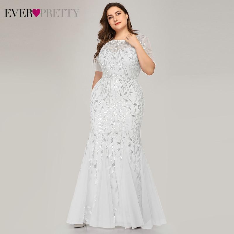 Plus Size White Wedding Dresses Ever Pretty EZ07707WH Sequined O-Neck Short Sleeve Mermaid Wedding Gowns For Bride Suknia Slubna