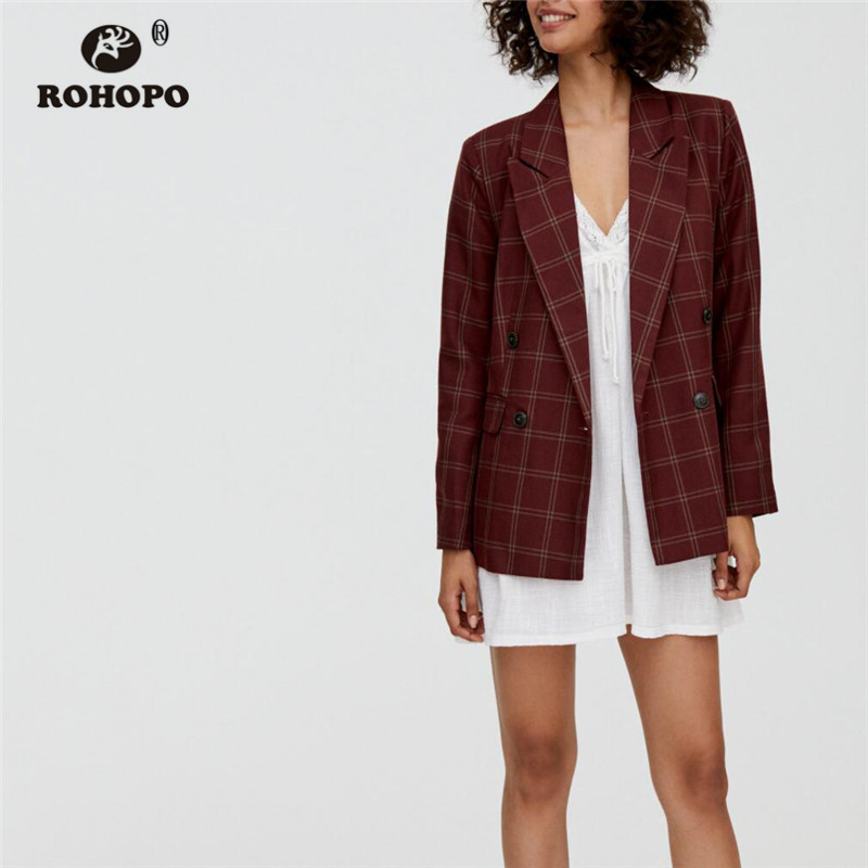 ROHOPO Double Breast Plaid Claret Blazer Side Flaps Welted Pockets Female Autumn Slim Notched Collar Outwear #2312