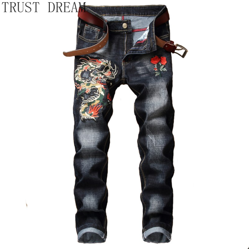 2019 New Embroidery Man Denim Pencil Pant Stretch Slim Red Rose Fly Dragon Men Casual Trouser Power Male Club Hip Hop Cool Jean