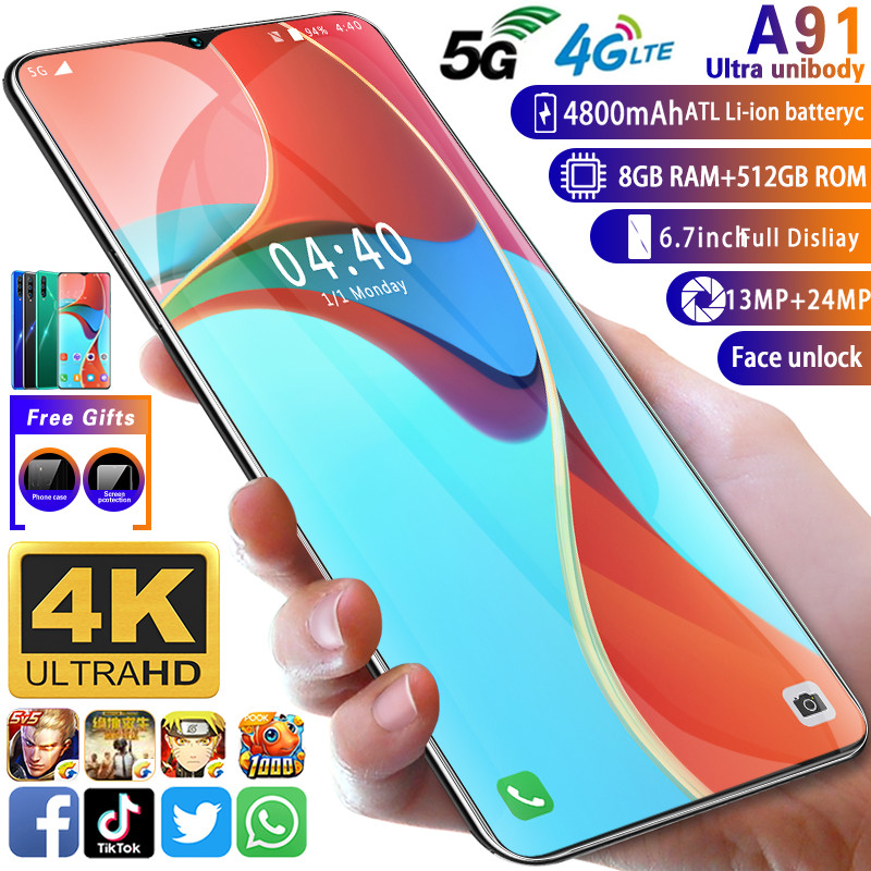 Smartphone A91 MTK6799 Deca Core Cellphone 6.7inch HD+Water Drop Screen Mobile Phone 4GLTE 5G 8GB+512GB Camera 13MP+24MP