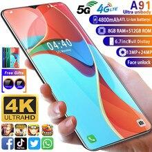Smartphone A91 MTK6799 Deca Core Cellphone 6.7inch HD+Water Drop Screen Mobile phone 4GLTE 5G 8GB+512GB Camera 13MP+24MP
