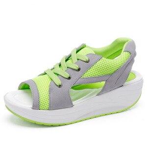 Image 3 - Cowcom boca de verão fundo grosso sapatos de balanço sandálias casuais pinho sapatos femininos moda esportes casuais sapatos de pano CYL 2717