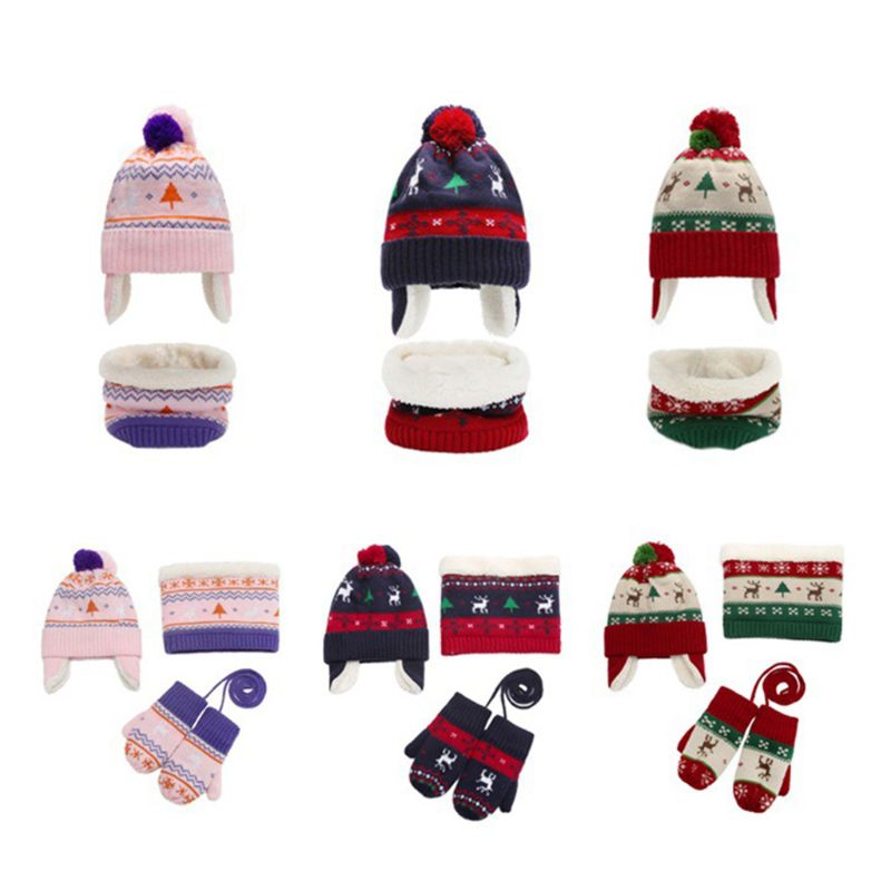 Toddler Kids Christmas Contrast Color Pompom Earflap Beanie Hat Scarf Gloves 3 Pieces Set Snowflake Deer Print Warmer