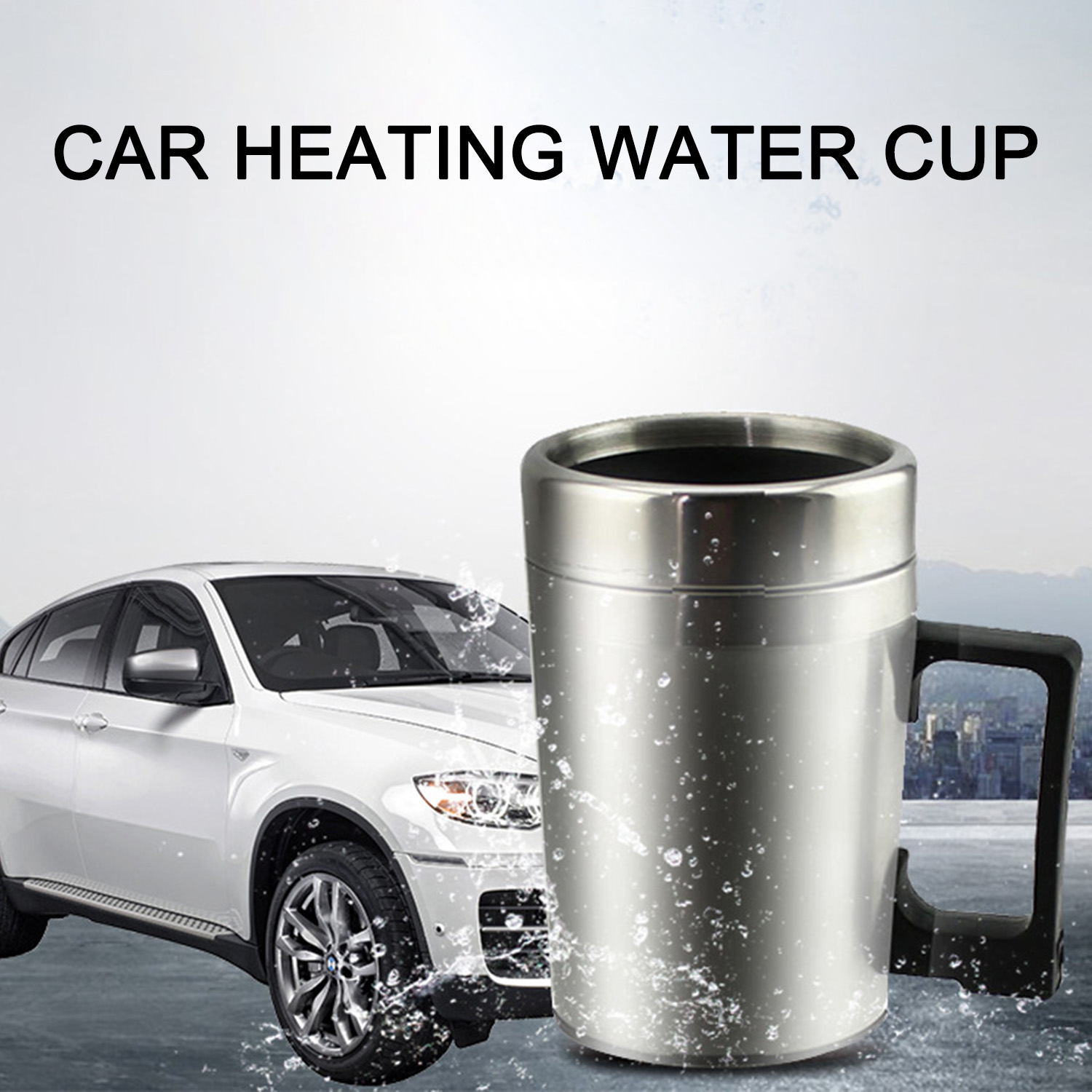 12V 24V 300ML Car Electric Water Heating Cup With Cigarette Lighter Stainless Steel Kettles Travel Mug Boiling Coffee