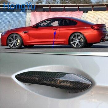 For BMW Carbon Fiber Auto Door Handle Knob Exterior Trim Covers for BMW M6 F06 F12 F13 2013 2014 Sticker