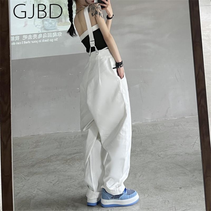 Frauen Hosenträger Jeans 2021 Sommer Neue Weiß Mode Baggy Hohe Taille Overalls Gerade Hosen Y2K Streetwear Casual Denim Hosen