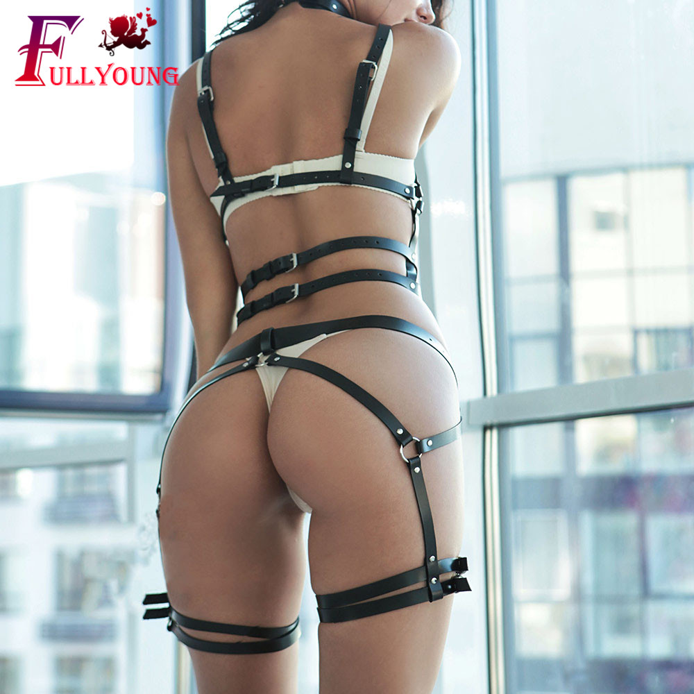 Fullyoung Sexy Women PU Leather Harness Body Belts Adjustable With Chain Waist Bondage Garters Punk Adjustable Suspender Straps