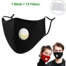 Masque en coton réutilisable, Anti-poussière, pour masque facial, Valve de respiration, filtre à 5 couches remplaçable, 12 pièces