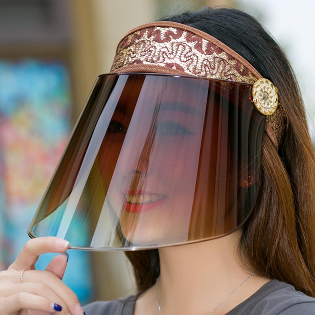 Women Anti-uv Lens Hat Female Plastic Wide Brim Sun Hat Casual Summer Free Rotating Empty Top Plastic Visor Cap