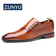 ZUNYU Fashion Business Dress Men Shoes New Classic Leather Men'S Suits Shoes Fashion Slip On Dress Shoes Men Oxfords Size 37-48(China)