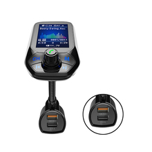 1.8in Display Car Handsfree Wireless Bluetooth 5.0 receiver Kit FM Transmitter Dual USB QC3.0 Charger lossless Music MP3 Player недорого