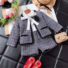 2019 filles hiver vêtements ensemble à manches longues plaid cardigan + shorts costume blazer vêtements ensemble enfants enfants manteau jupe ensemble automne(China)