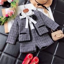 Shorts Suit Skirt-Set Blazer Girls Winter Coat Clothing-Set Kids Children Plaid Cardigan