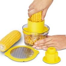 4in1 Kitchen Slicer Peeler Ginger Sharpener Corn Planer Grain Separator Cob Corn Stripper With Built-In Measuring Cup And Grater
