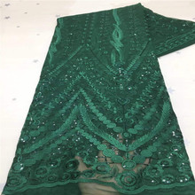 High Quality Lace New Sequin Lace 2021 green Latest Bridal Materials Dresses Fabric Sequence Lace for Nigerian Party Wedding cheap CN(Origin) Crocheted 100 Cotton Net Lace Mesh Sequins 120cm to 130cm Elastic Water Soluble Eco-Friendly African Wedding Dress Fabrics party