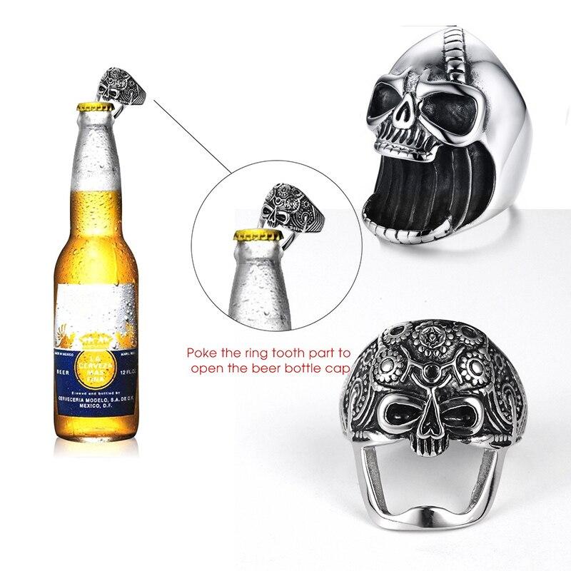 Skull Opener Ring MultiFunctional Skull Ring For Men Bottle Opener Stainless Steel Skeleton Gothic Punk Vintage Scar Jaw Male