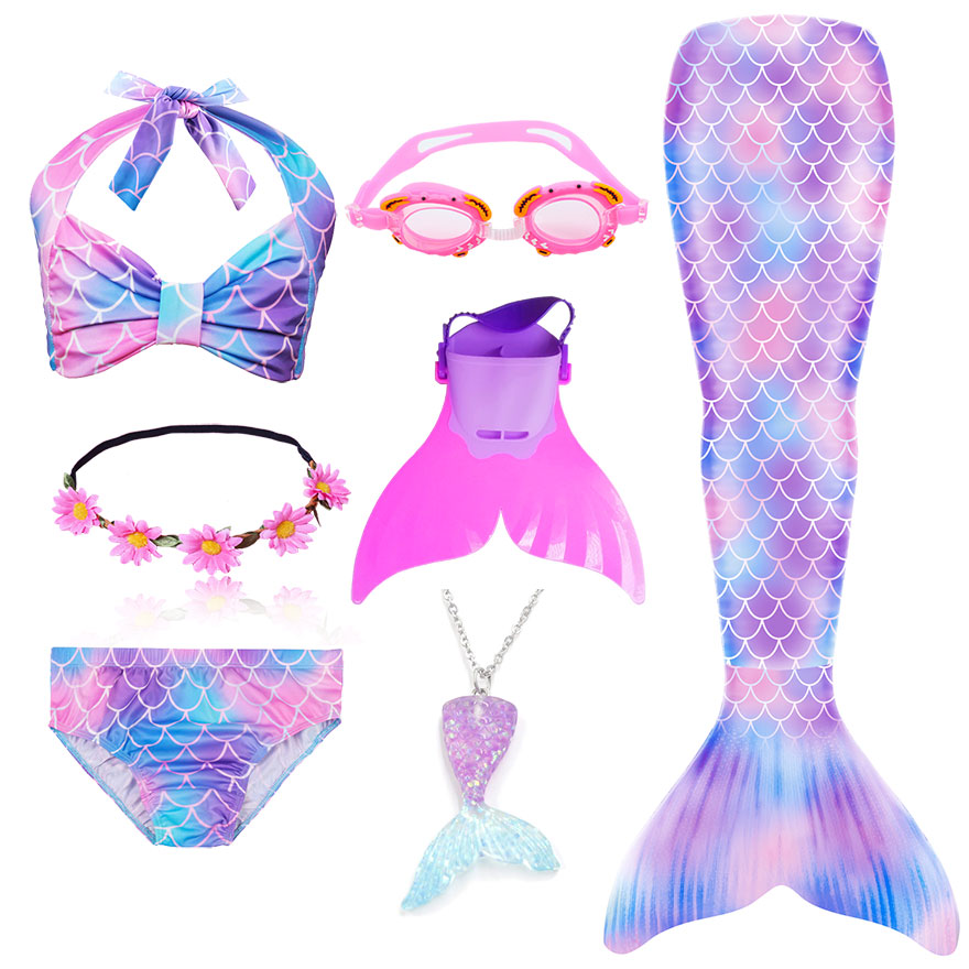 H9da973bbe0054e88a3832715f6a6bb14u - Kids Swimmable Mermaid Tail for Girls Swimming Bating Suit Mermaid Costume Swimsuit can add Monofin Fin Goggle with Garland