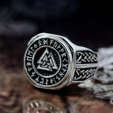 EYHIMD Valknut Viking Signet Rings Mens Silver Triangle Warrior Rune Stainless Steel Ring Norse Amulet Jewelry Talisman Gift(China)