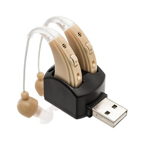 Um par recarreg vel aparelho auditivo para os idosos perda auditiva amplificador de som ouvido