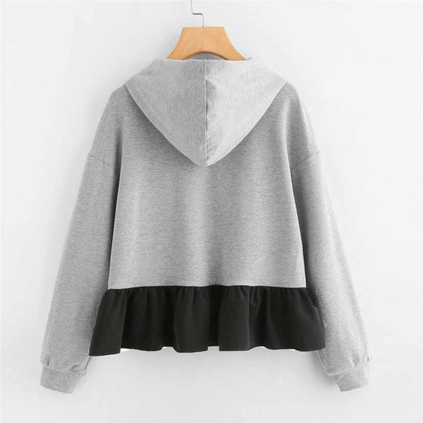 Womens Sweatshirt Ruffles 긴 소매 까마귀 스웨터 여성용 점퍼 후드 풀오버 보우 블라우스 Sudadera Mujer Con Capucha