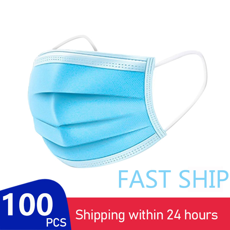 In Stock Fast Delivery 100pc Face Mask Disposable Mask Filter Respirator Mask 3 Layer Breathable Mascarillas Masque