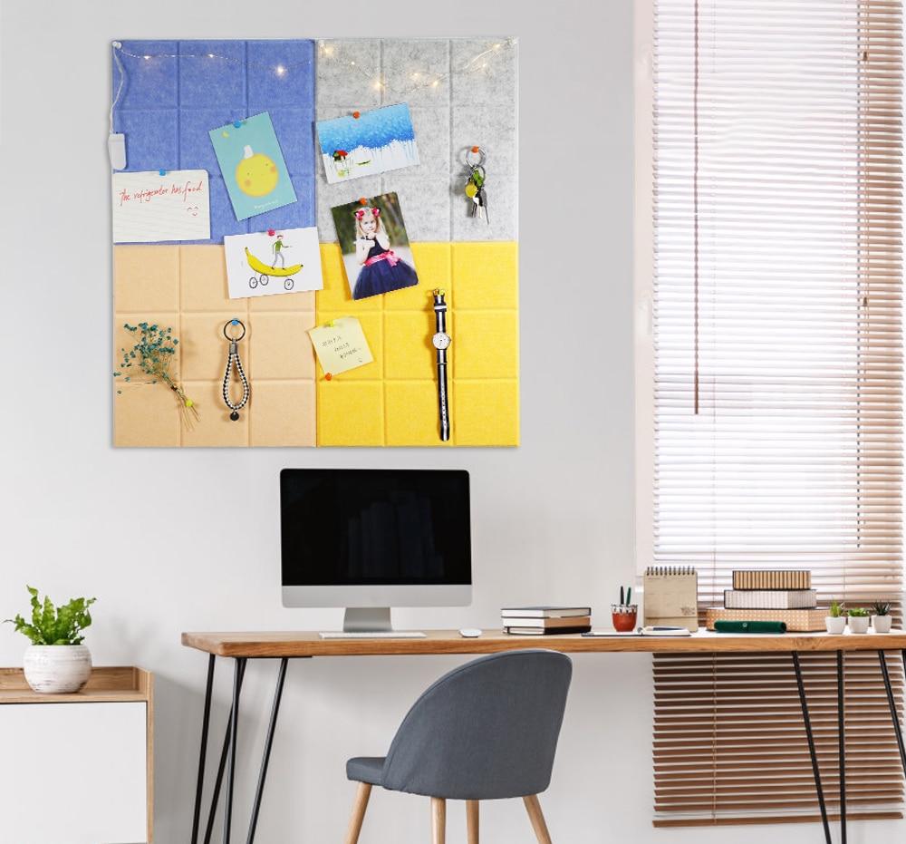 30x30cm Felt Cloth Display Board Home Decor Felt Photo Schedule Work Study Plan Message Bulletin Board Home Office Wall Sticker