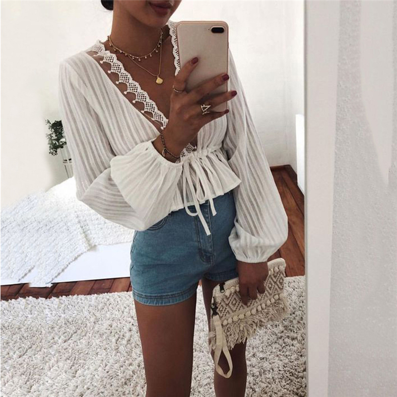 Fashion Womens Tops and Blouses Elegant Long Sleeve Lace Top V Neck OL Shirt Ladies Dames Party Club tunique femme Streetwear
