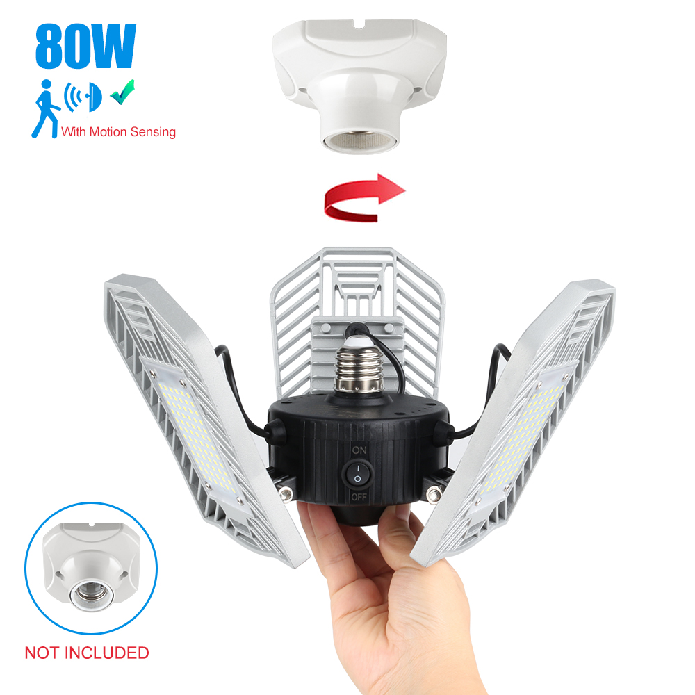 80W Led Deformable Lamp Garage Light E27 LED SMD 2835 Radar Home Lighting High Intensity Parking Warehouse Industrial