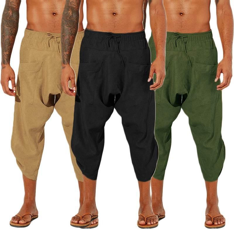 INCERUN Men Casual Pants Cotton Linen Solid Loose Jogger Retro Elastic Waist Trousers Men Drop Crotch Harem Pants Streetwear 5XL