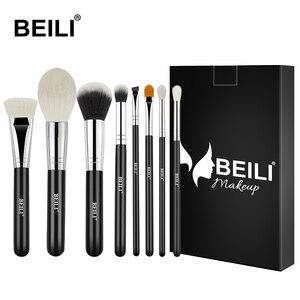 Набор кистей для макияжа BEILI Black, 8 шт., контурные синтетические волосы для ежедневного макияжа