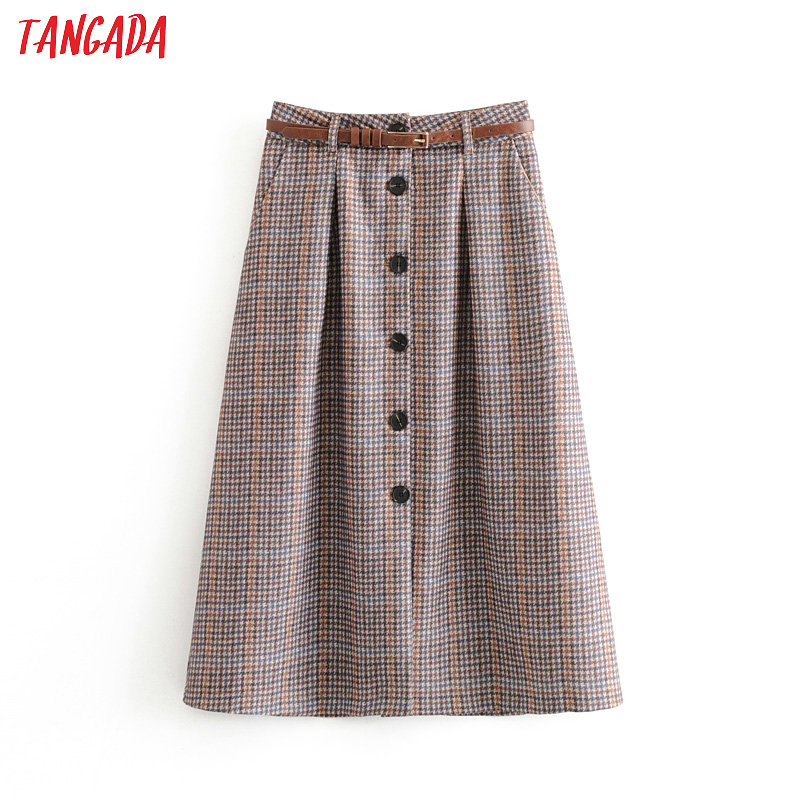Tangada England Style Women Pleated Midi Skirt Faldas Mujer Vintage With Belt Female Office Lady Chic Mid Calf Skirts 6A331