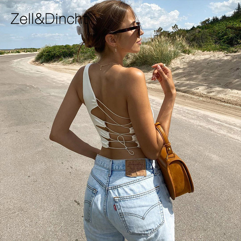 Zell&Dincht Sexy Hollow Out Backless White Tank Top Women Summer Korean Club Party Camisole Femme Crop Tops Slim Soft Vest tee Tank Tops  - AliExpress