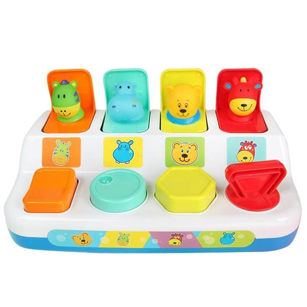 Interativa pop-up forma animais brinquedo caixa de interruptor botão caixa bebê inteligência empurrar boneca brinquedo aprendizagem do bebê desenvolvimento brinquedo jogo