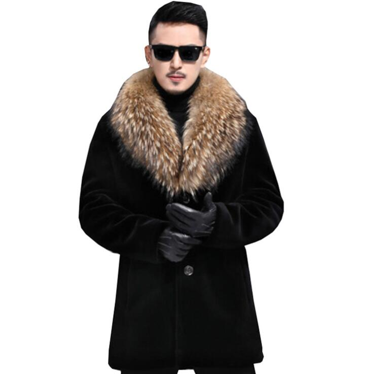 Cheap autumn faux mink fur leather jacket mens winter thicken warm fur leather coat men loose jackets fashion B175