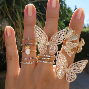Image 4 - פרפר קוקטייל טבעת עבור נשים יוקרה זהב ורוד קשת cz סלול פתוח מותאם תכשיטים