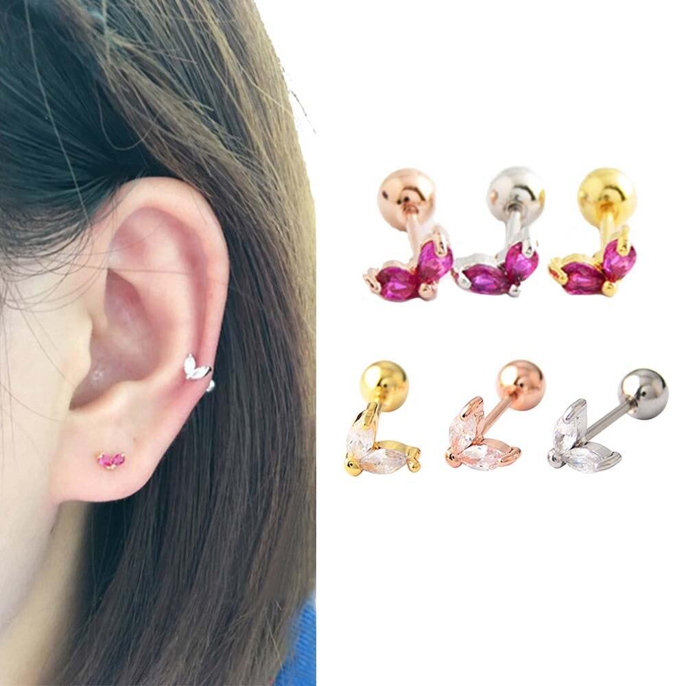 Korean Style Ear Bone Ear Piercing Round Studs Earrings Medical Steel Love Heart Shaped Ball Barbell Stud Earring Unisex Jewelry