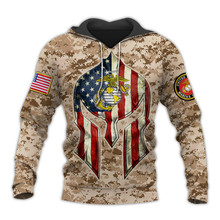 Tessffel America Marine Camo Skull Soldier Army Tracksuit NewFashion Pullover 3DPrint Unisex Zip/Hoodies/Sweatshirts/Jacket  A-4